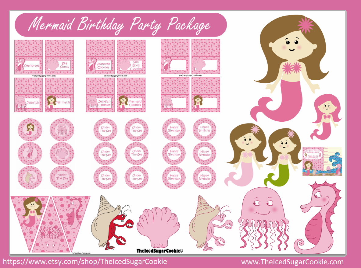 Pink mermaid under the sea birthday party printable kit party