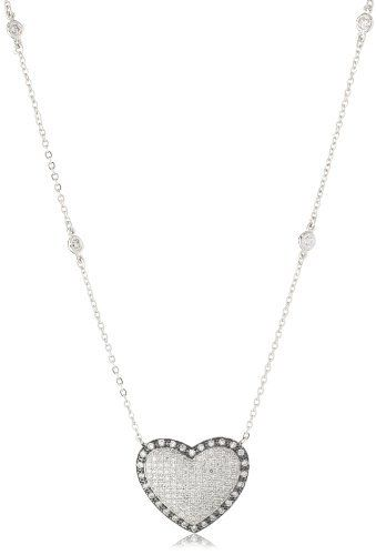 """CZ by Kenneth Jay Lane """"Sparkling Hearts"""" Rhodium-Plated Pave Cubic Zirconia Pendant Necklace CZ by Kenneth Jay Lane. $239.00. Luxe four prong settings. Made in China. Luxe four prong settings Made in CN. The cubic zirconia used in this collection is meticulously hand cut and hand set. Cubic zirconia does not have internal flaws; it sparkles with perfection"""