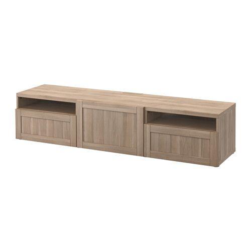 BESTÅ TV unit - Hanviken walnut effect light gray, drawer runner, soft-closing, 180x40x38 cm - IKEA