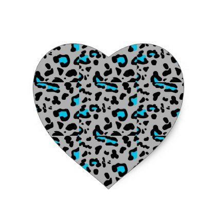 Gray & Blue Leopard Print Heart Sticker - animal gift ideas animals and pets diy customize