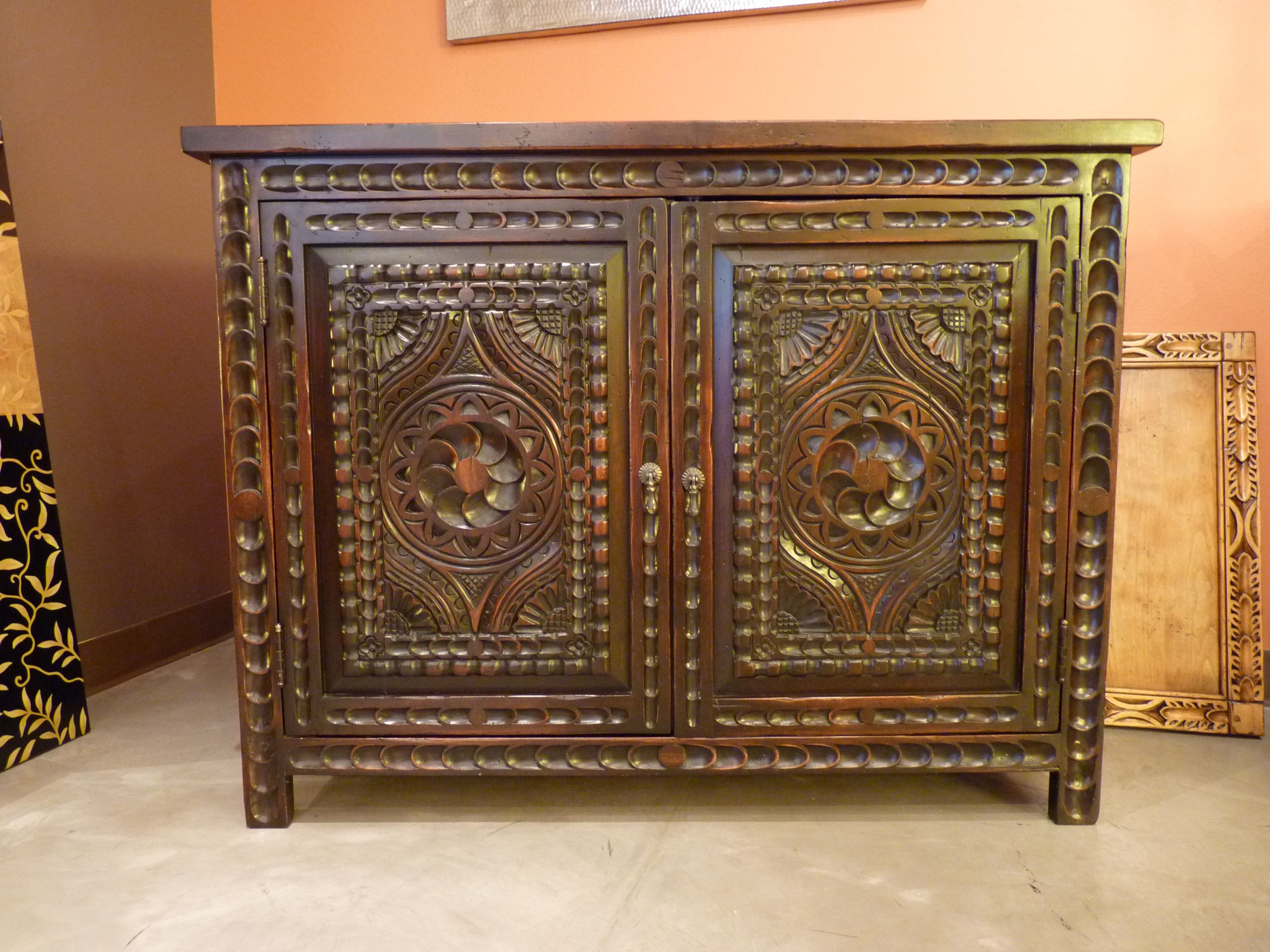 Carved Custom Cabinets Furniture/vanity. Spanish Colonial Revival Style.  Santa Fe, New