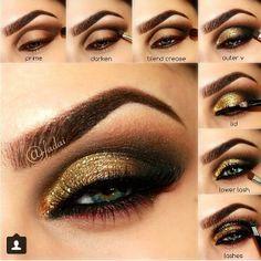 Maquillaje De Noche Paso A Paso Con Fotos Buscar Con Google Maquillaje Ojos Dorados Maquillaje De Ojos Con Brillo Maquillaje De Ojos Ahumados