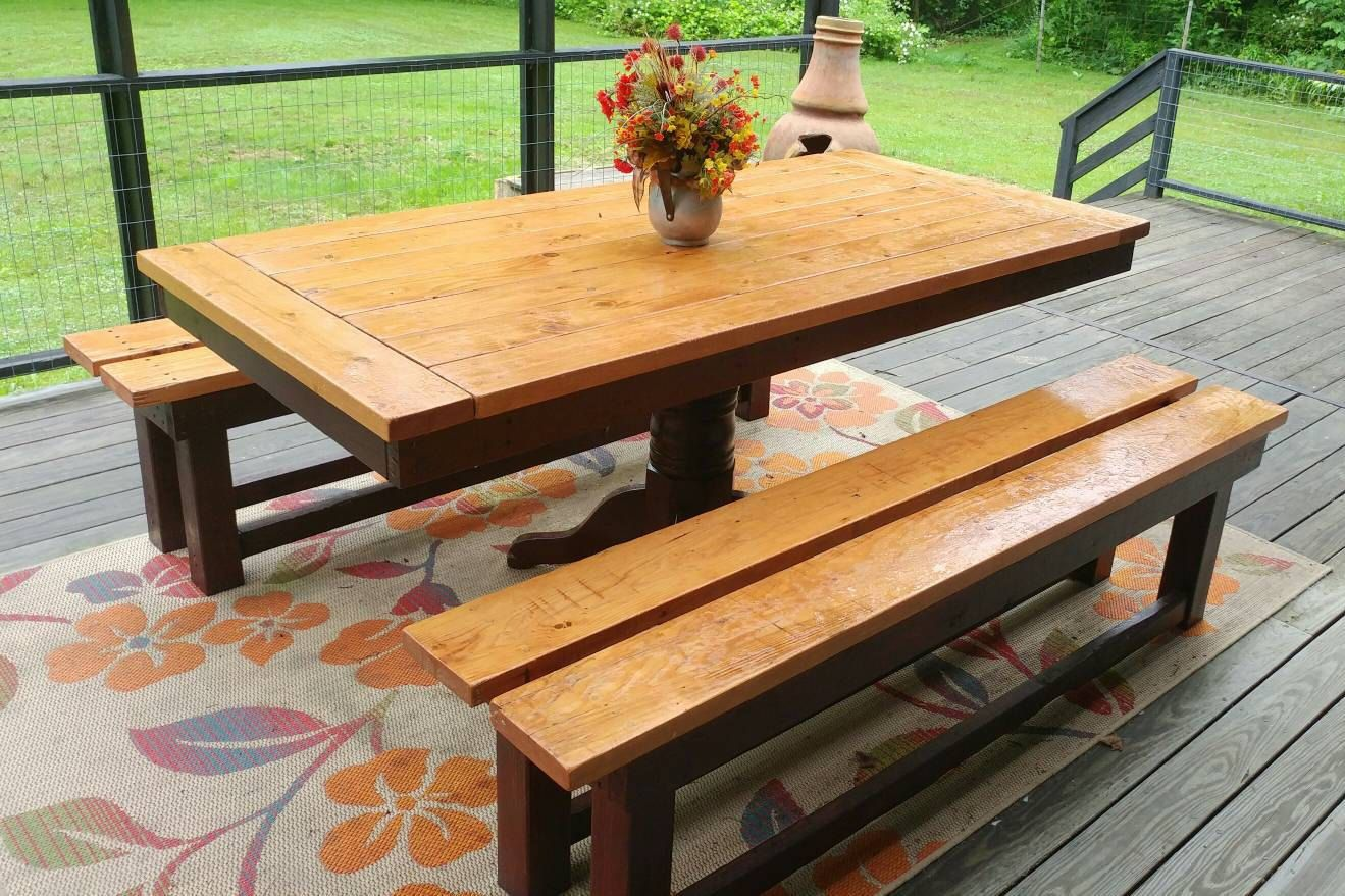 Custom Built Picnic Table And Benches With Pedestal Base Bread Board Style Top By