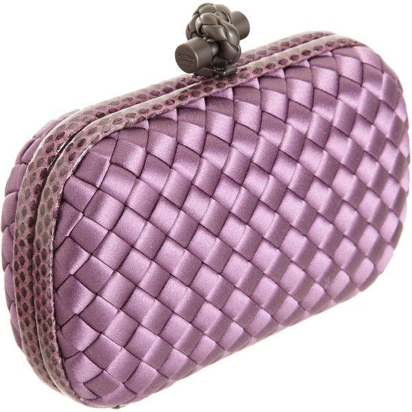 Bottega Veneta Knot Intrecciato Satin Snakeskin Clutch 1 380 Liked On Polyvore Satin Purses Snakeskin Clutch Snake Skin Handbag
