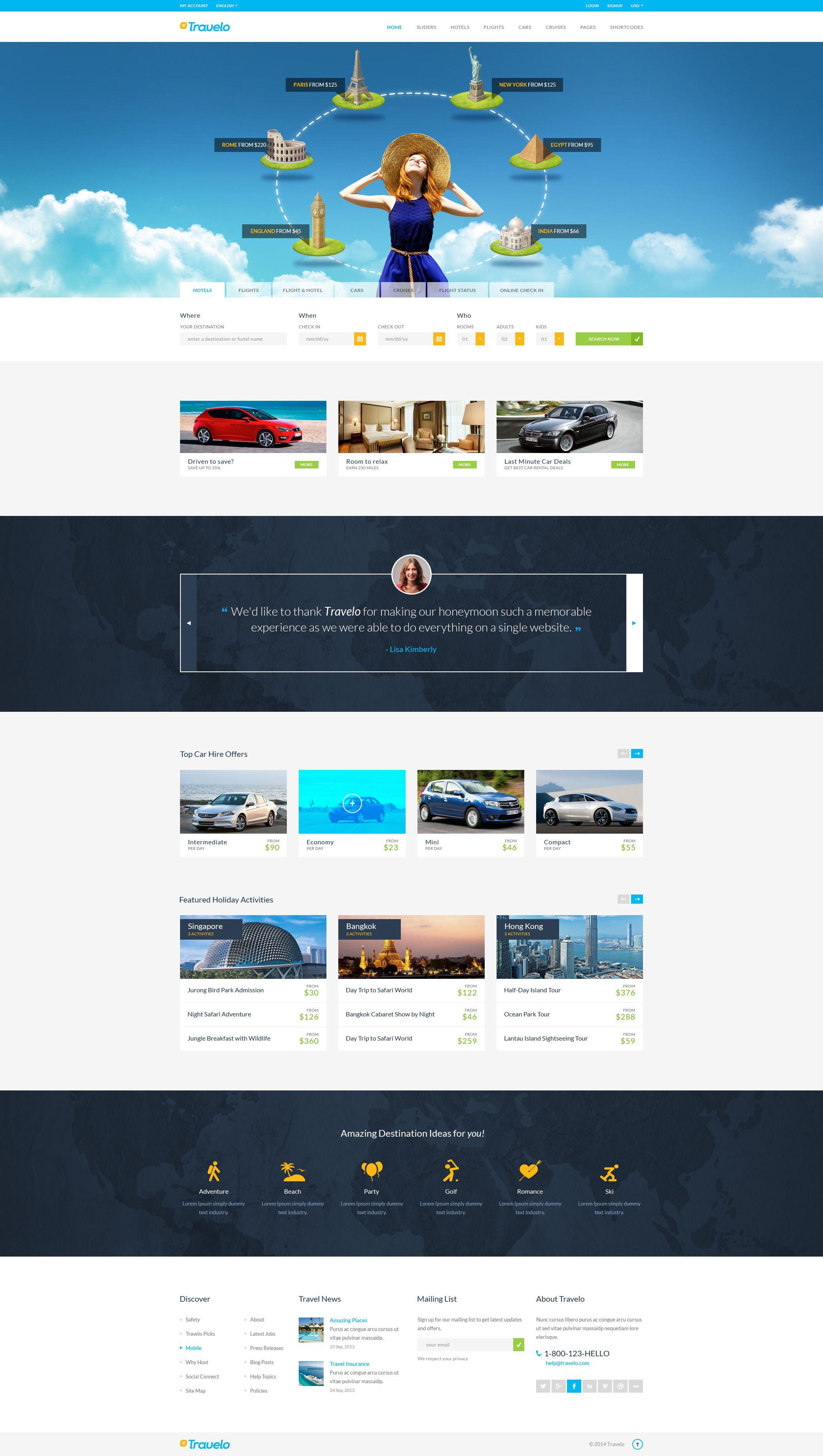 Travelo Travel Tour Booking Responsive Wordpress Theme Travel