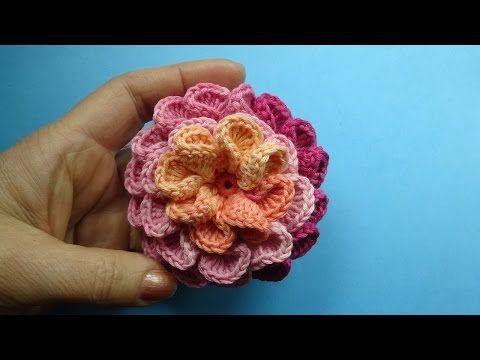 crochet 3d flower pattern Вязаный Цветок - youtube | fleurs