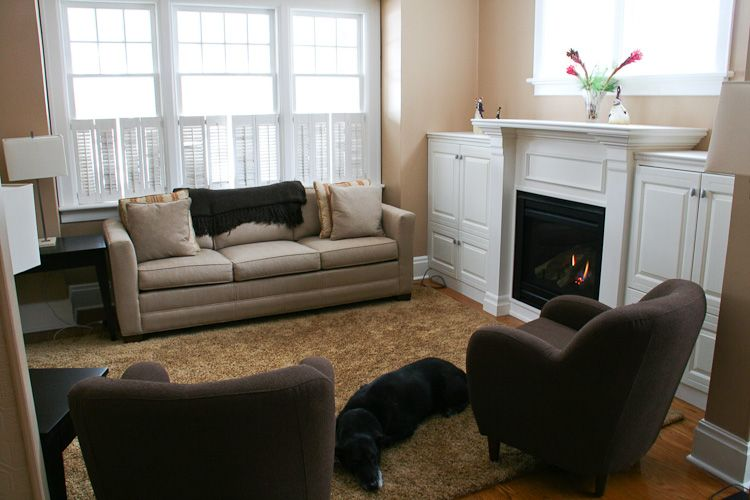Casual Contemporary Living Room with New Fireplace ... on Fireplace Casual Living id=60644