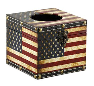Distressed Retro Patriotic American Flag Toilet Tissue Facial Tissue Box Cover Holder With Lockable Hinge Tissue Box Covers Facial Tissue Box Tissue Boxes