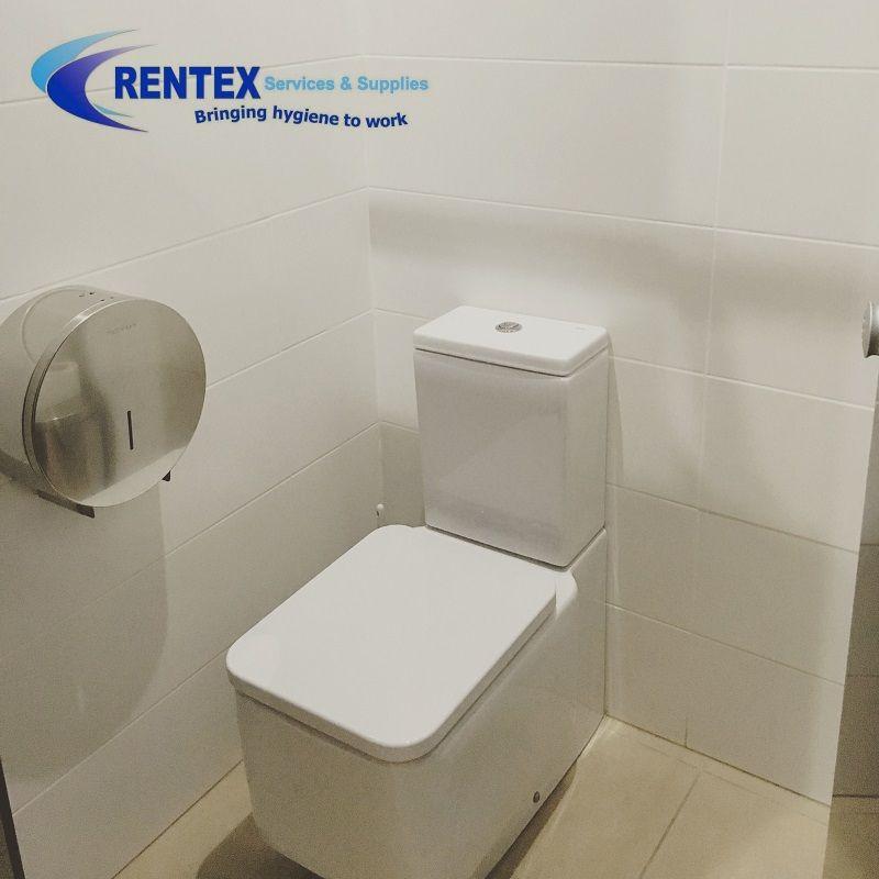 Stainless Steel Jumbo Toilet Roll Dispenser Installed In