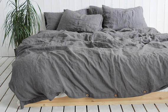 Organic Linen Duvet Cover Or Duvet Cover Set In Charcoal Gray Etsy Organic Duvet Covers Linen Duvet Covers Organic Duvet