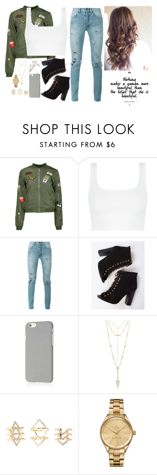 """""""beautiful"""" by wifeofbizzle ❤ liked on Polyvore featuring Boohoo, Yves Saint Laurent, Klix, House of Harlow 1960, Charlotte Russe and Lacoste"""