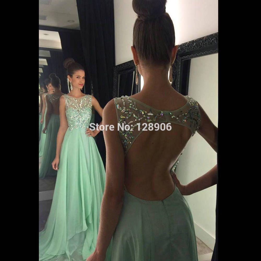 d02b95810 Recién llegado de menta vestidos baile 2016 pura lentejuelas cuentas Scoop  espalda abierta una línea elegante celebración de largo Prom vestidos(China  ...