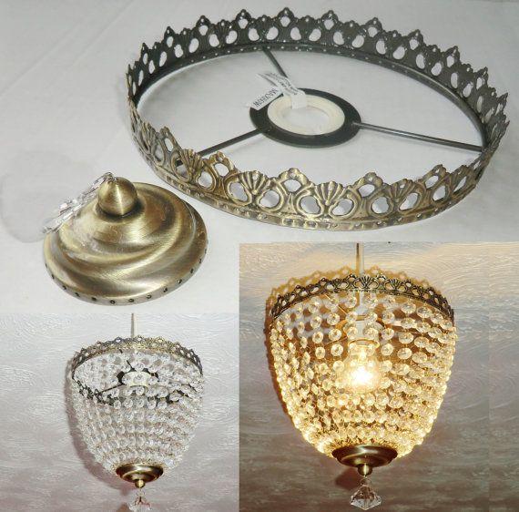 Deep Bag Chandelier Metal Frame No Drops Make Your Own Light Shade Kit Pendant Lamp Wedding Cake Stand Decoration Vintage Look