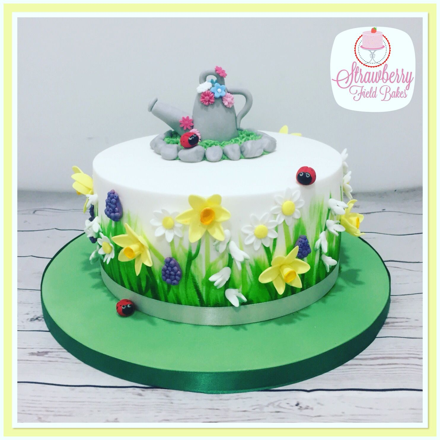 Hand Painted Spring Flower Cake With Daffodils Snow Drops Daisys