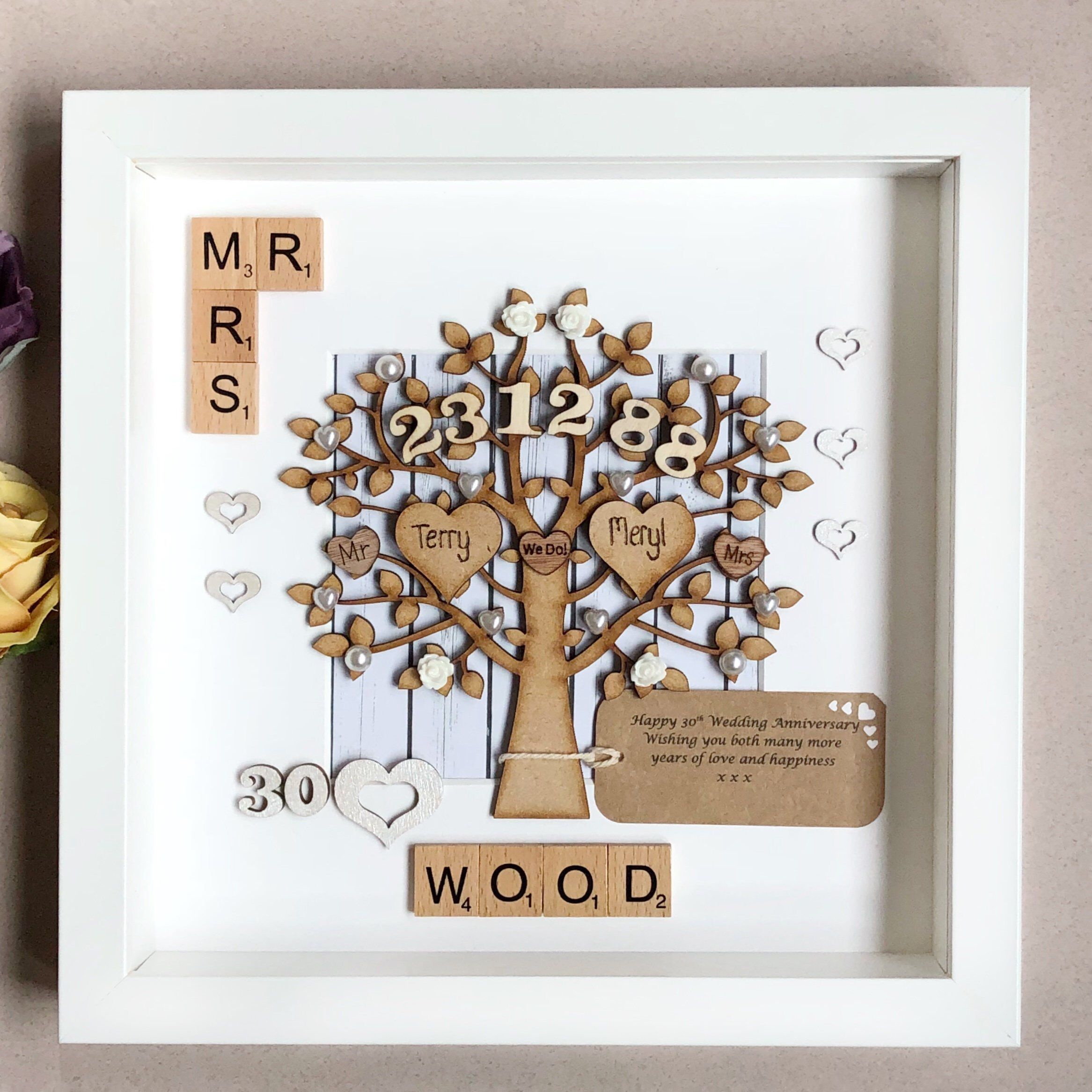 Pearl Wedding Anniversary Gift Personalised 30th Wedding Etsy Pearl Wedding Anniversary Gifts 30th Anniversary Gifts For Parents 30th Wedding Anniversary