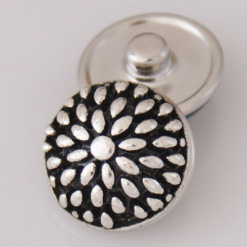 1 PC 18MM Flower Silver Candy Snap Charm kb3610 CC0759