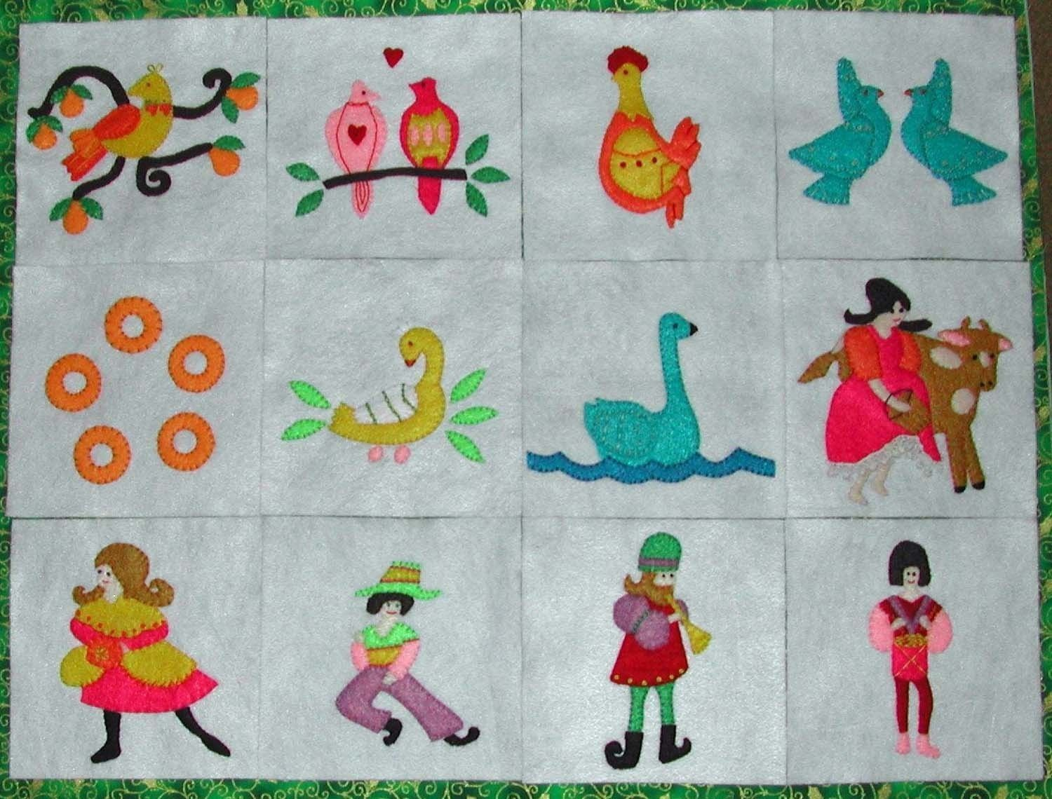 The 12 Days Of Christmas Felt Sewing Pattern Etsy Felt Applique Applique Wall Hanging 12 Days Of Christmas