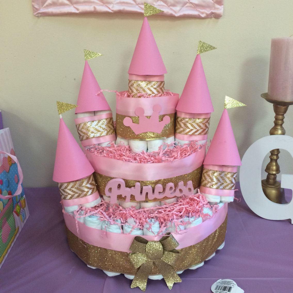 Royal Baby Shower Theme Diaper Cake Princess Castle Pink