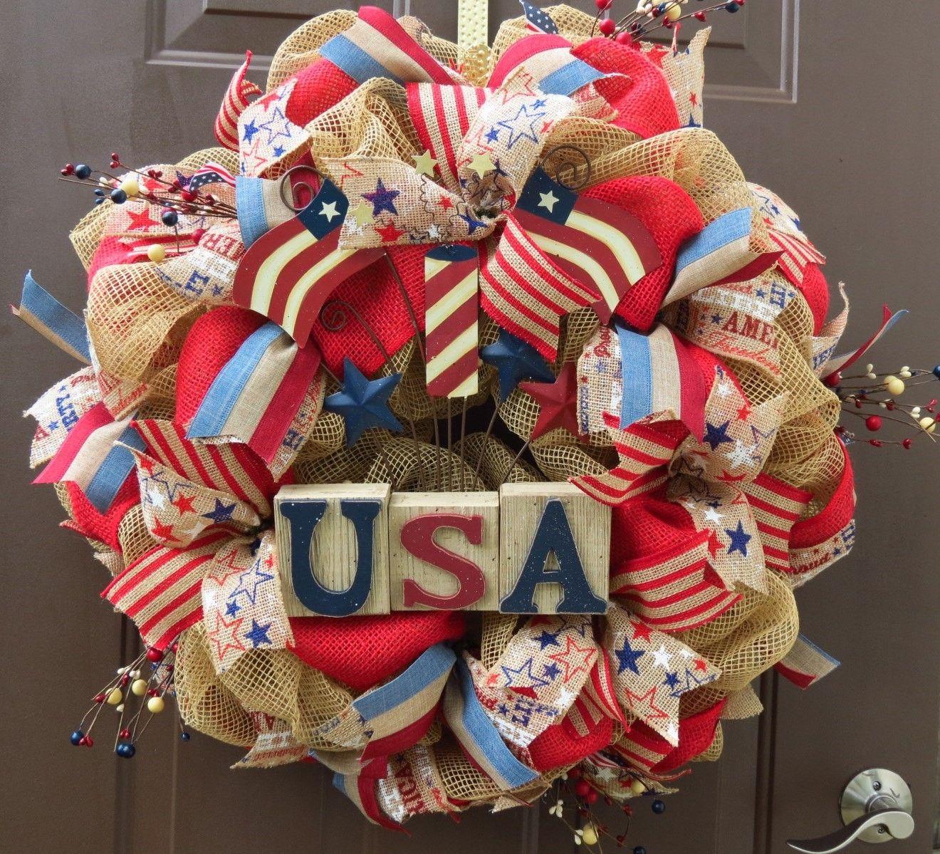 2014 Patriotic Deco Mesh Wreath, 4th of July Deco Mesh Wreath ...