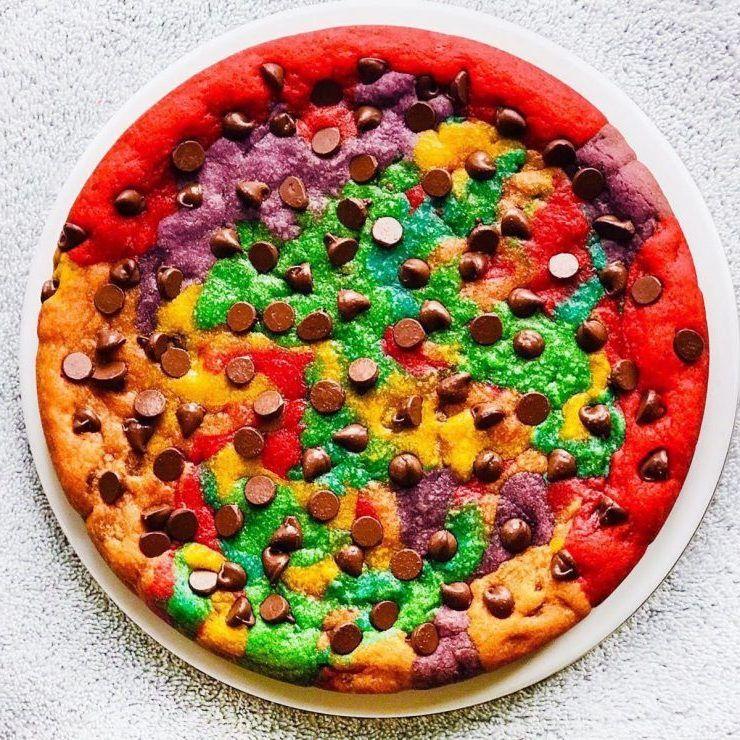 Cara Membuat Marble Rainbow Cookies Loperonline Com Resep Kue Coklat Chip Makanan Keping Coklat