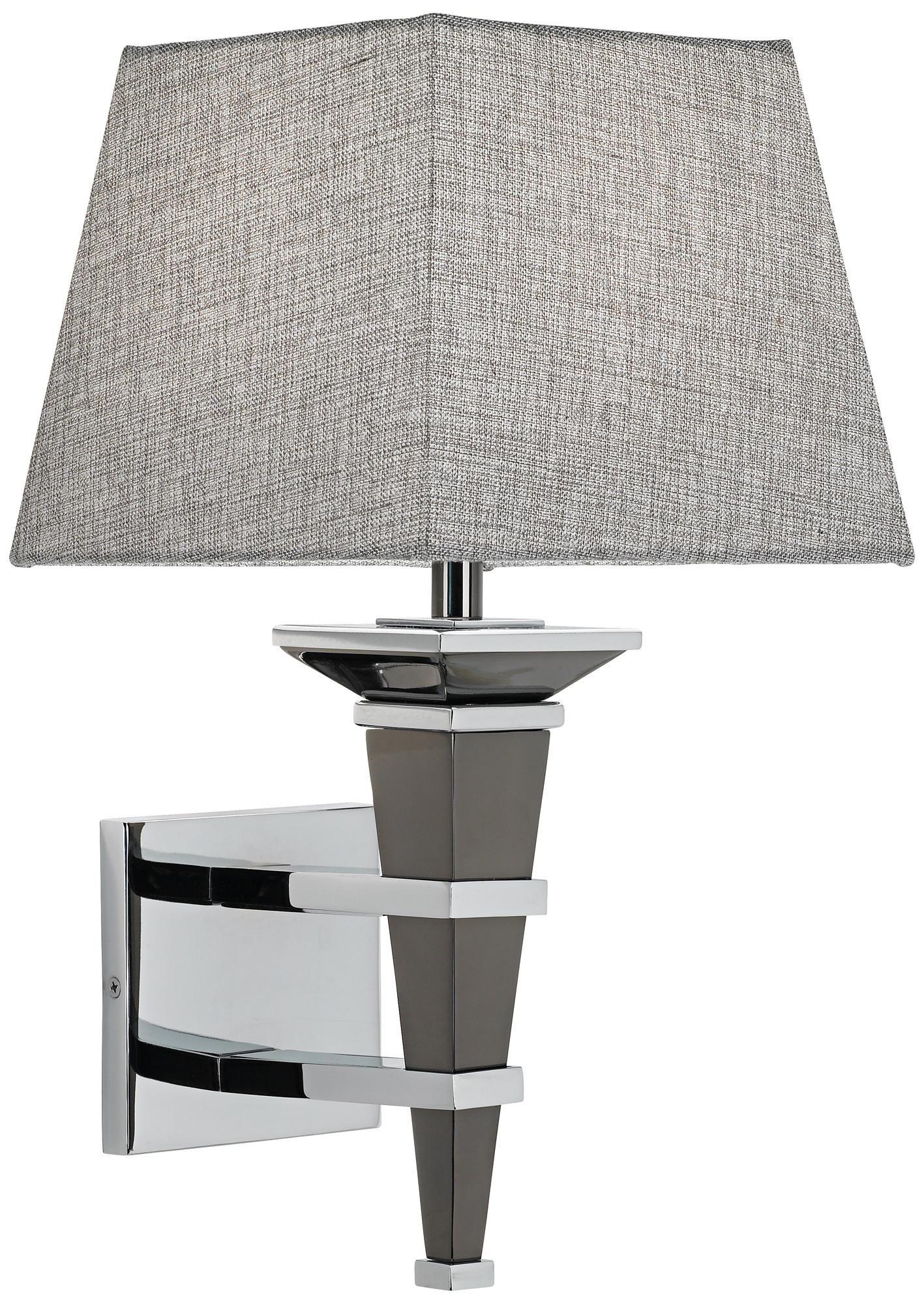 "Bathroom Light Fixtures With Fabric Shades textured fabric shade 18 1/2"" high chrome wall sconce - | bathroom"