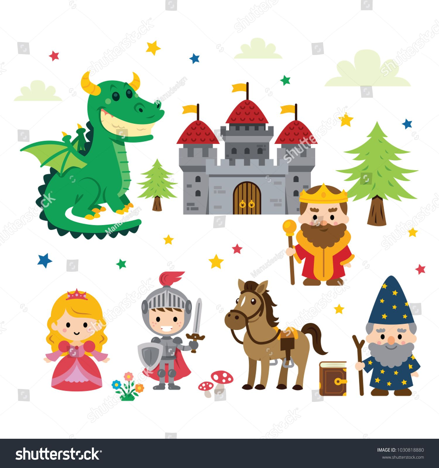 Fantasy Fairy Tale Clipart With Different Characters Nprincess Knight Dragon Wizard And King Nplus Castle Tree Mushroo Fantasy Fairy Fairy Tales Clip Art