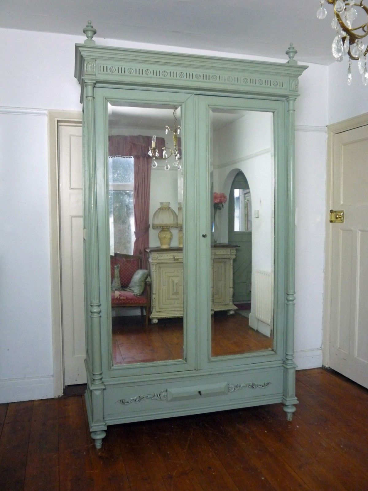 Merveilleux Antique French Inspired Mirrored Armoire | Painted Henri II Style Double Mirror  Door French Armoire