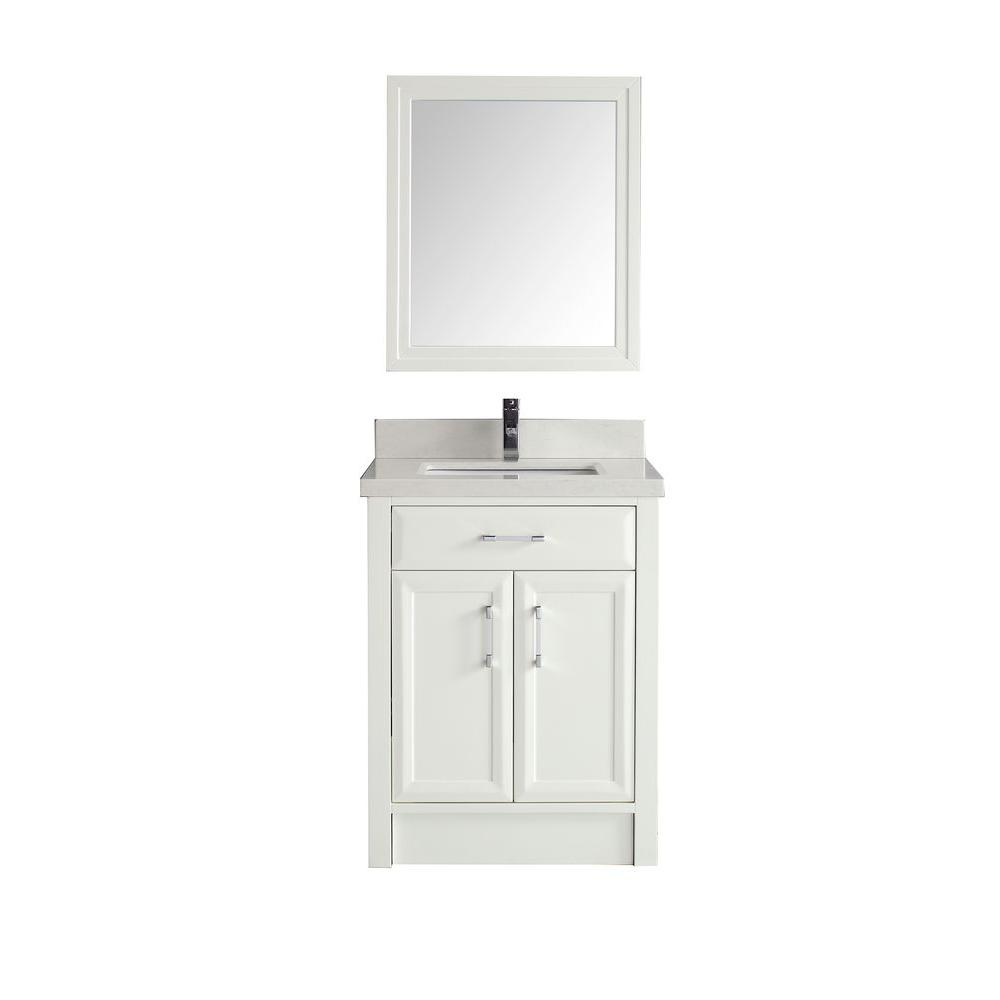 Studio Bathe Calais 28 In Vanity In White With Solid Surface Marble Vanity Top In White Calais 28 Wh Ssc The Home Depot Marble Vanity Tops Bathroom Vanity Tops Vanity