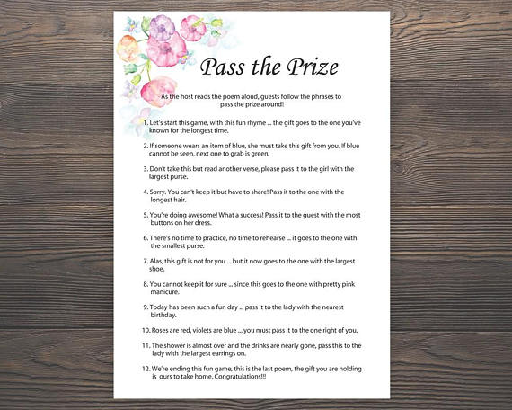 pass the prize baby shower games girl baby shower rhyme game parcel game pass the parcel game