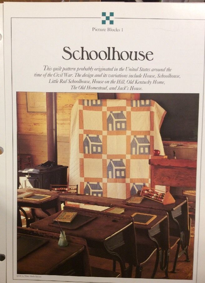 vintage oxmoor house quilt pattern with plastic templates schoolhouse