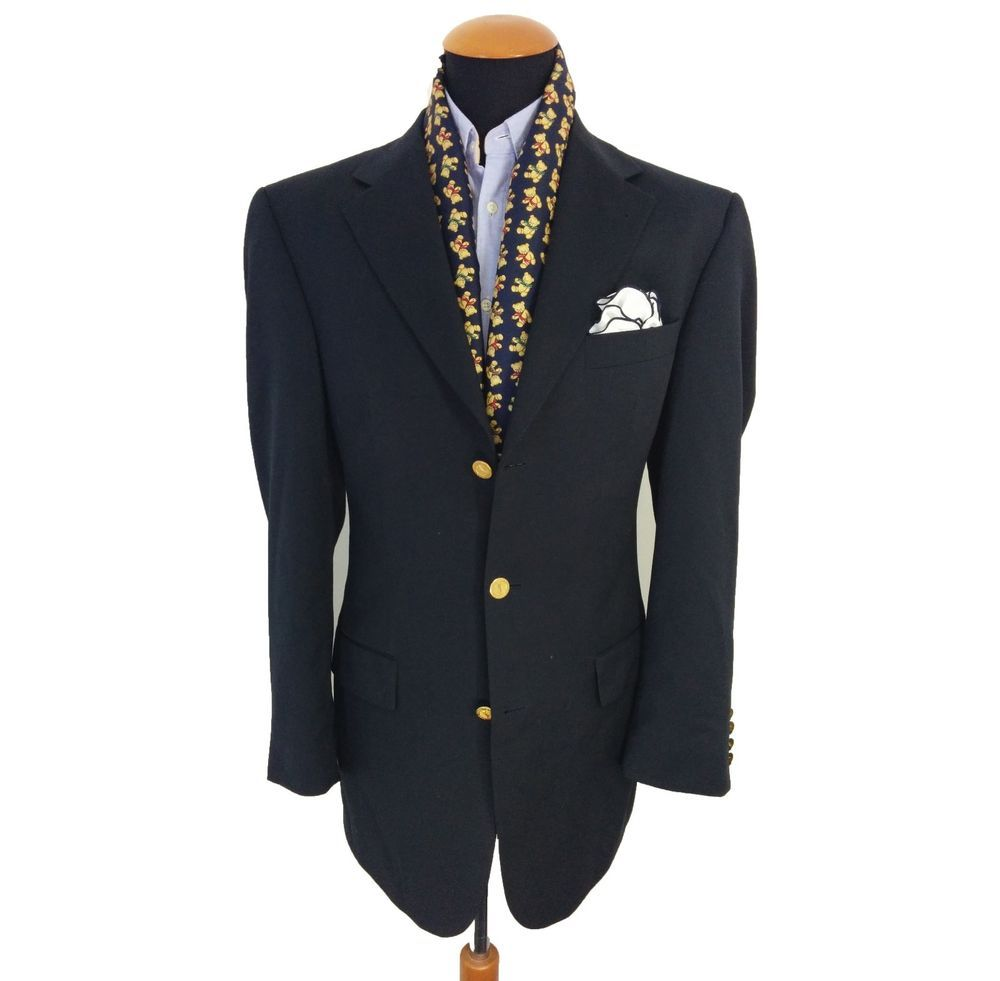 Men's YSL Yves Saint Laurent Blazer size 42L Gold Buttons Wool ...