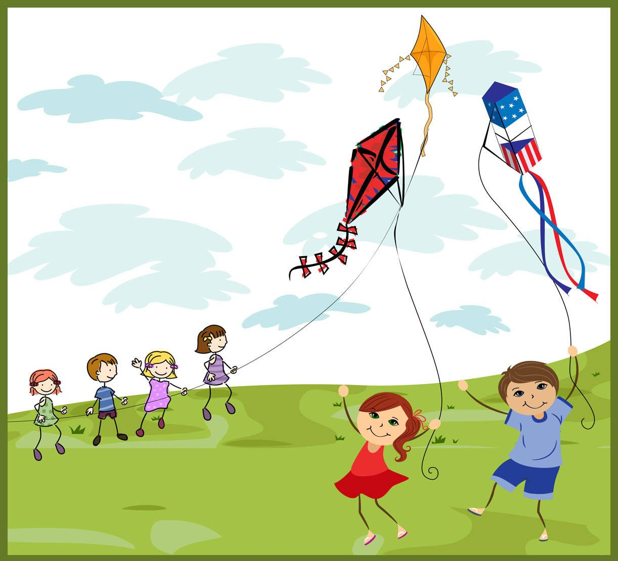 kids flying kites back to memories and kites clip art of all kinds of kites box kites red kites blue kites and people flying kites
