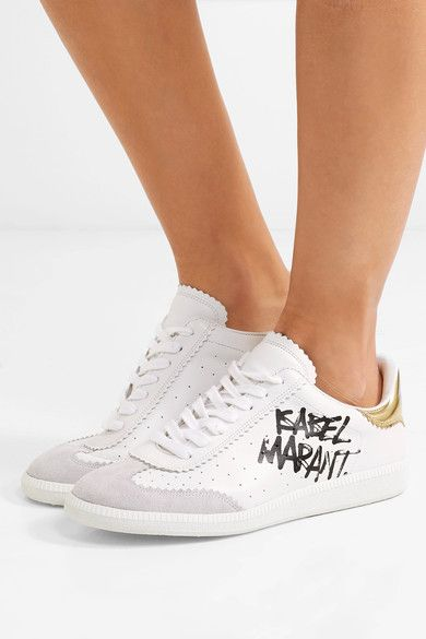 41b5548583 Isabel Marant - Bryce printed leather and suede sneakers | Products ...