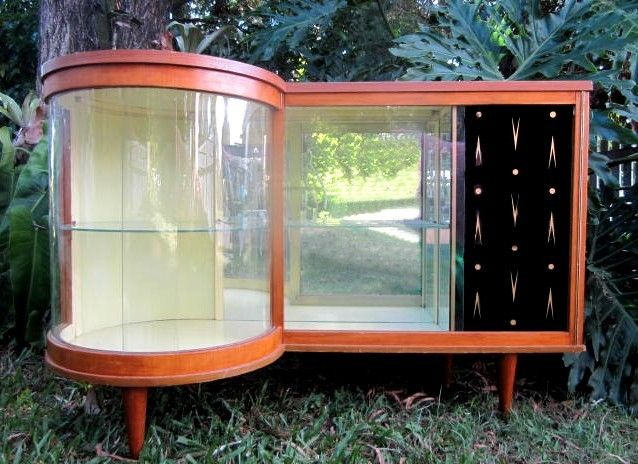 Vintage Deco 50s/60s Retro Cocktail Bar Glass Display Drinks Cabinet   They  Were Called Whistle Cabinets Because If You Looked At Them From Above, ...