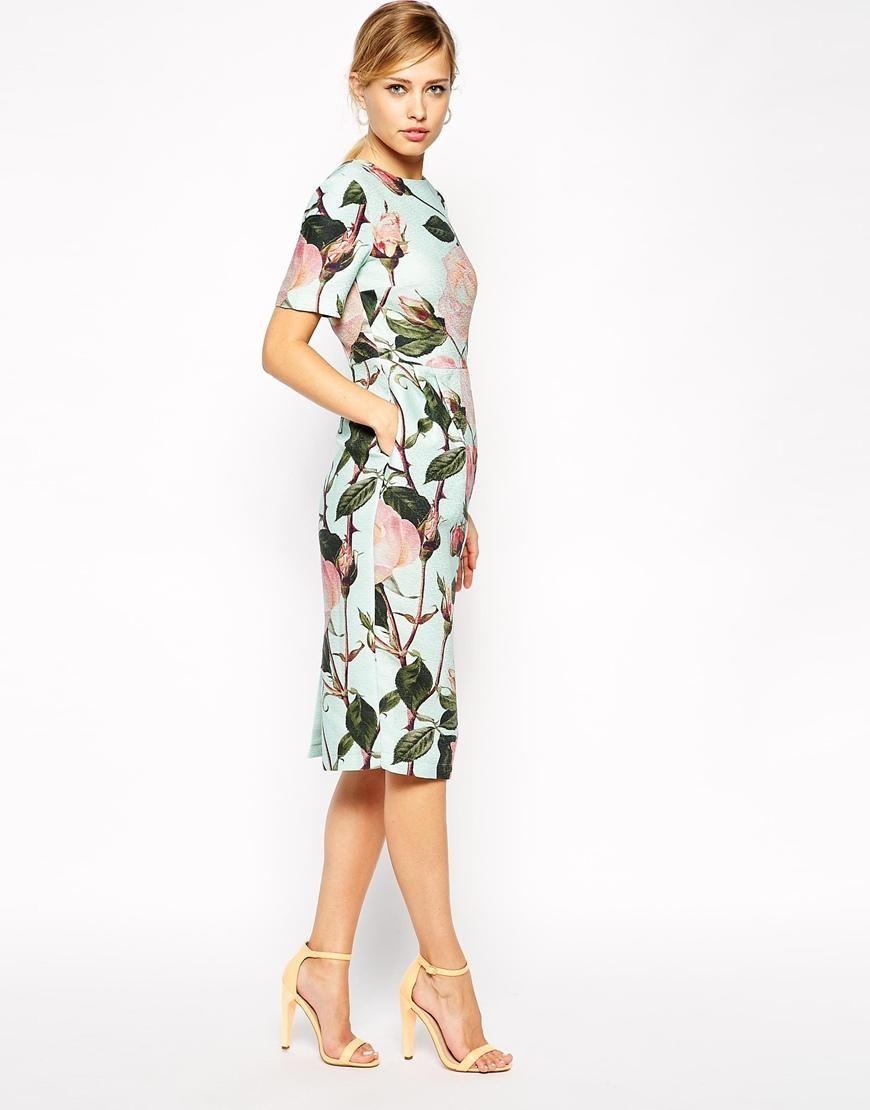 ASOS | ASOS Wiggle Dress in Textured Large Floral Print at ASOS ...