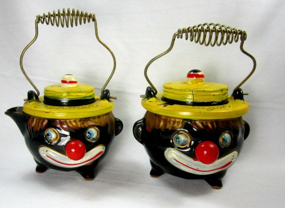 How cool are these?  Black Faced Clown Cream and Sugar Set Thames by GoshenPickers