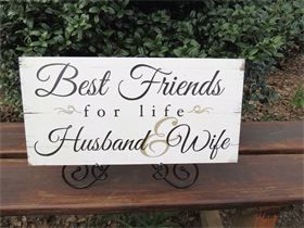 "Sign - ""Best Friends for Life"" - Rental Price Sign $4 this sign can hang with a ribbon on placed on an  easel for an additional $1 rental fee"