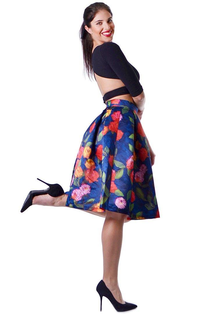 5a74f9894b8 Μπλε floral 50's style φούστα | ΦΟΥΣΤΕΣ ~ SKIRTS | Skirts, Midi ...