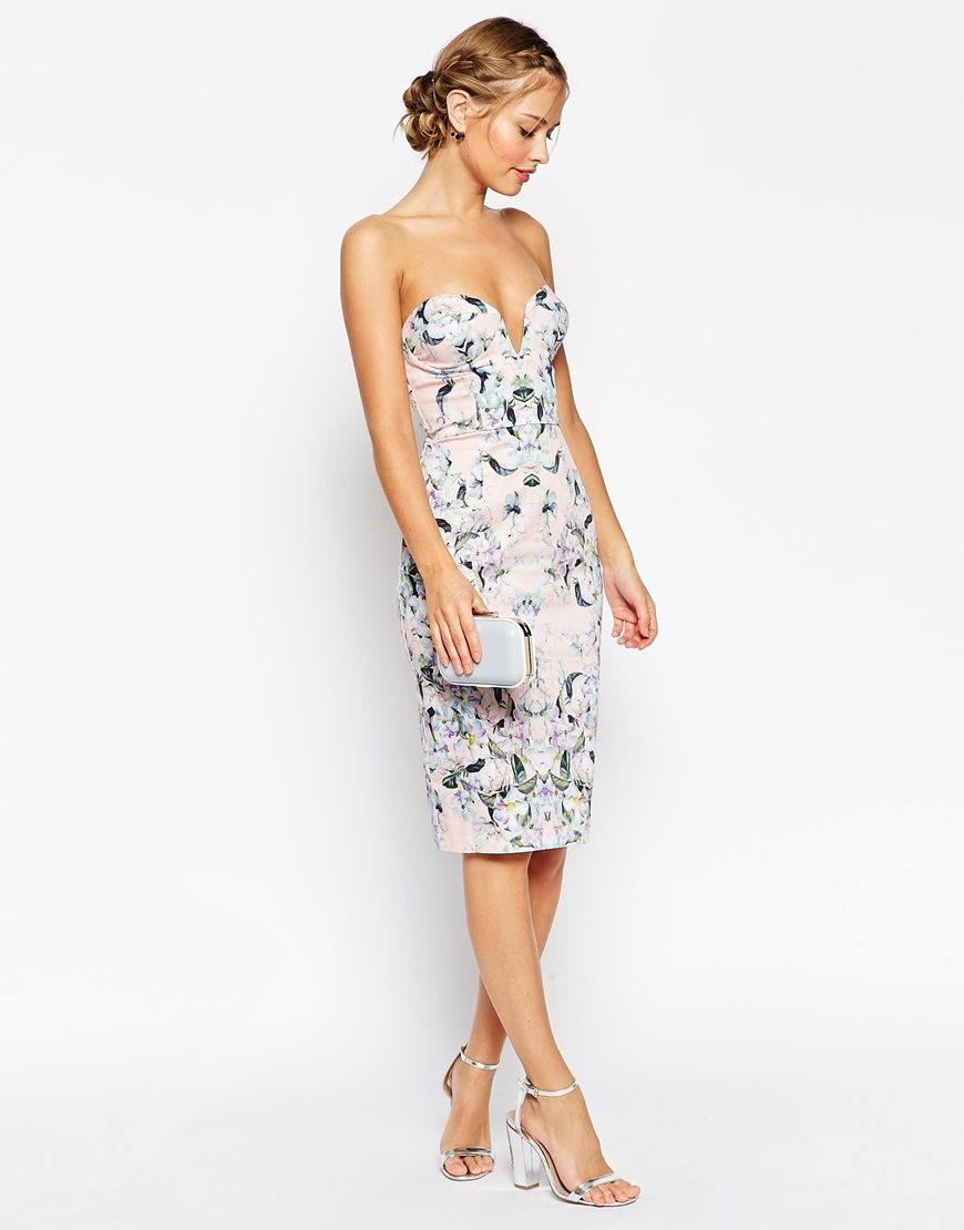 ASOS PETITE Pencil Dress with Curved Plunge Neck in Floral Print at asos.com