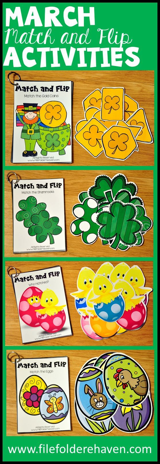 These Matching Activities: March Match and Flip Books focus on basic ...