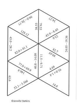 Add and Subtract Decimals Math Center Puzzle Activity in