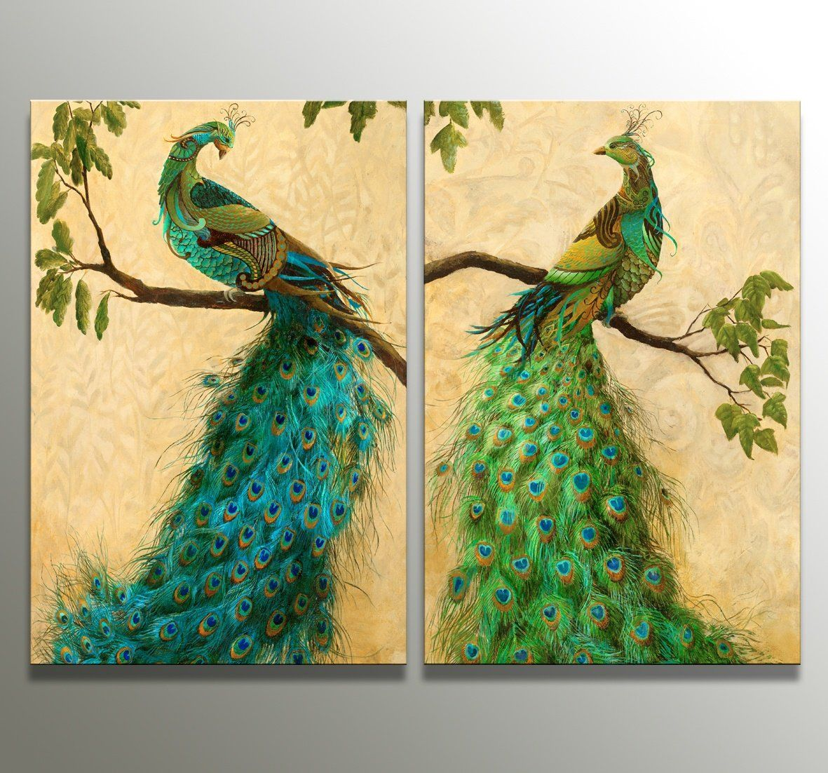 2 The Panel Wall Art of Peacock Painting Pictures Print On Canvas ...