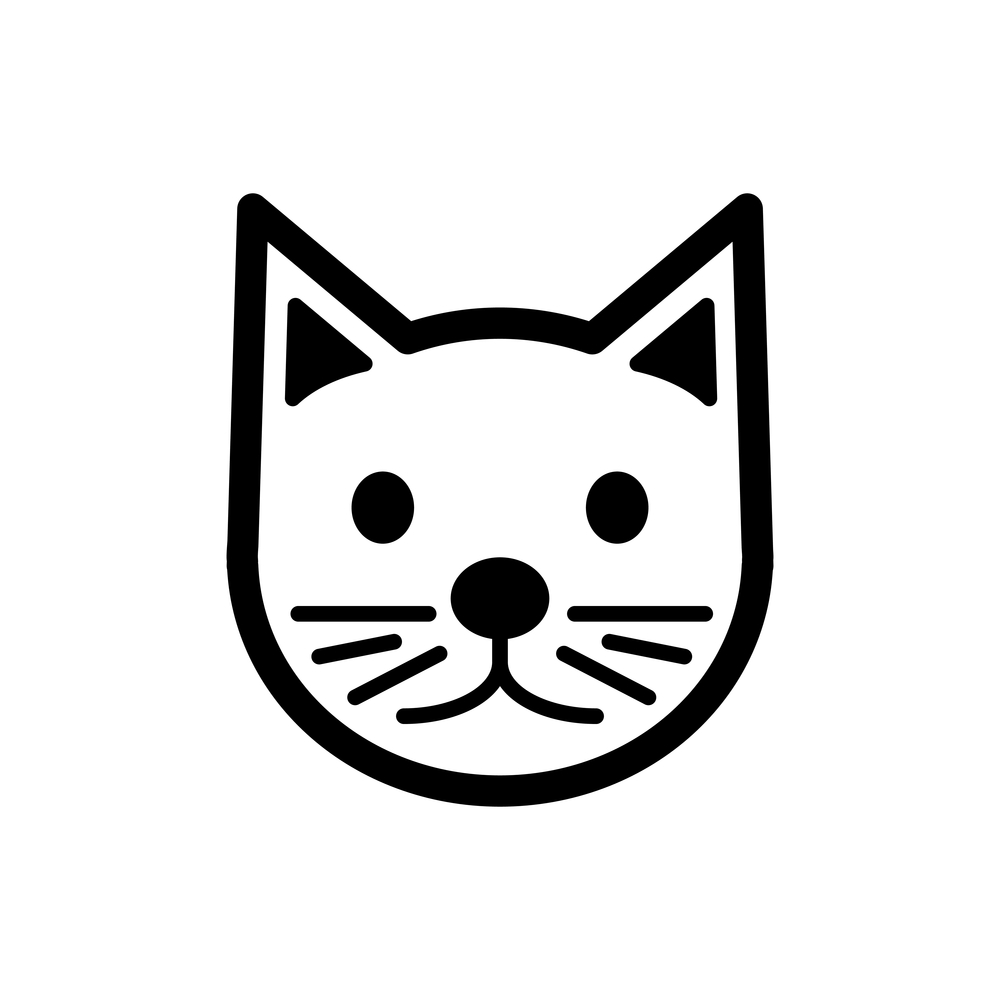Cat Simple Vector Icon Black White Cat Icon Cats Black And White