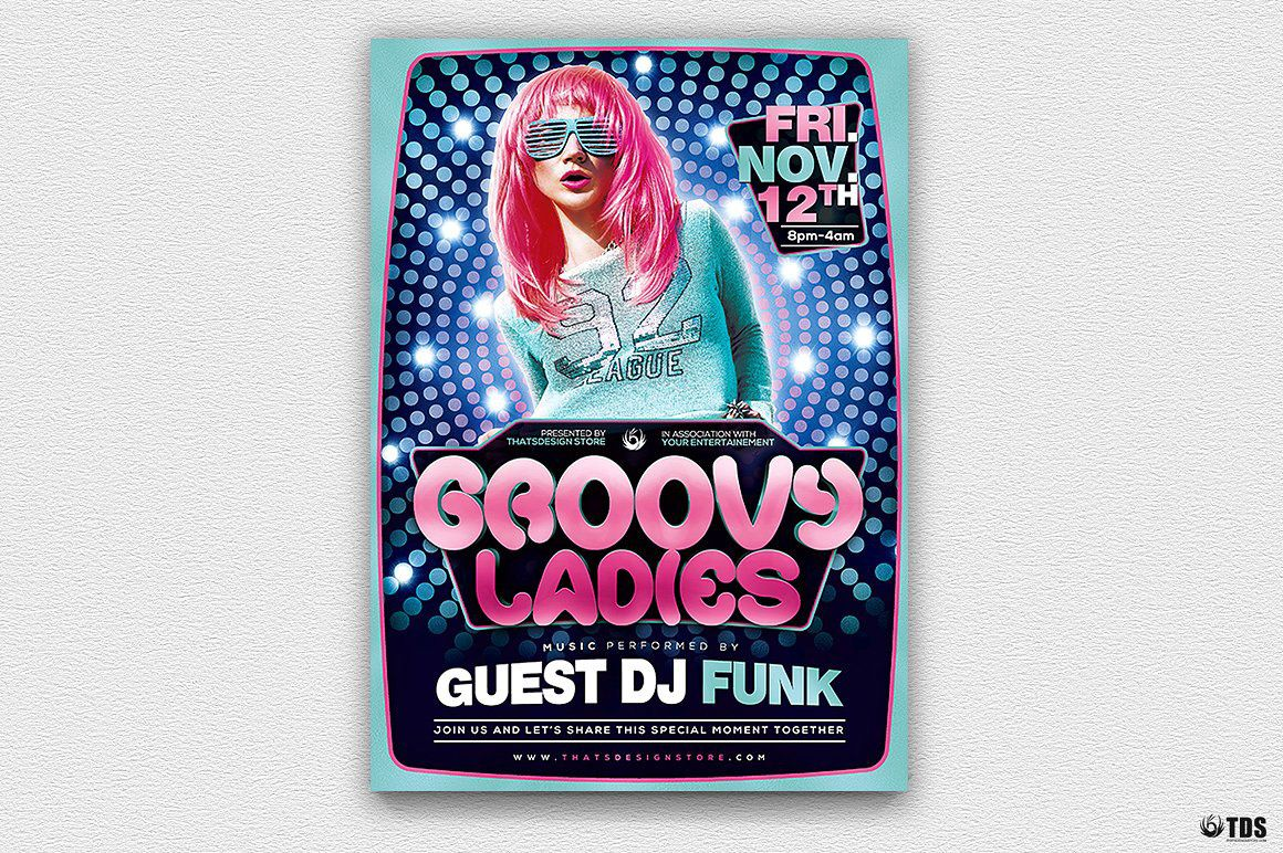 Groovy Ladies Disco Flyer Template Psd Design for photoshop | Flyer ...