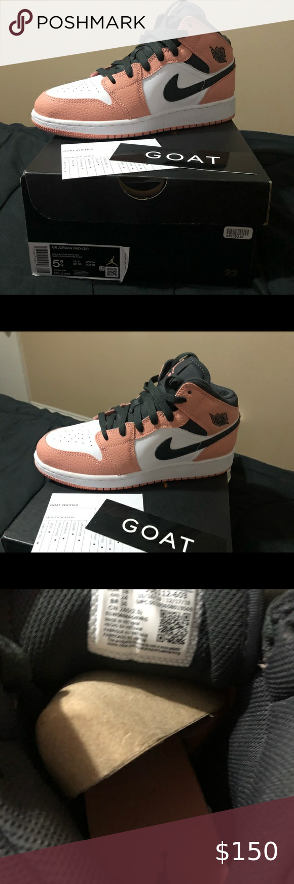 Air Jordan 1 Mid Gs LIKE NEW !!!!!pinkquartz Jordan Shoes