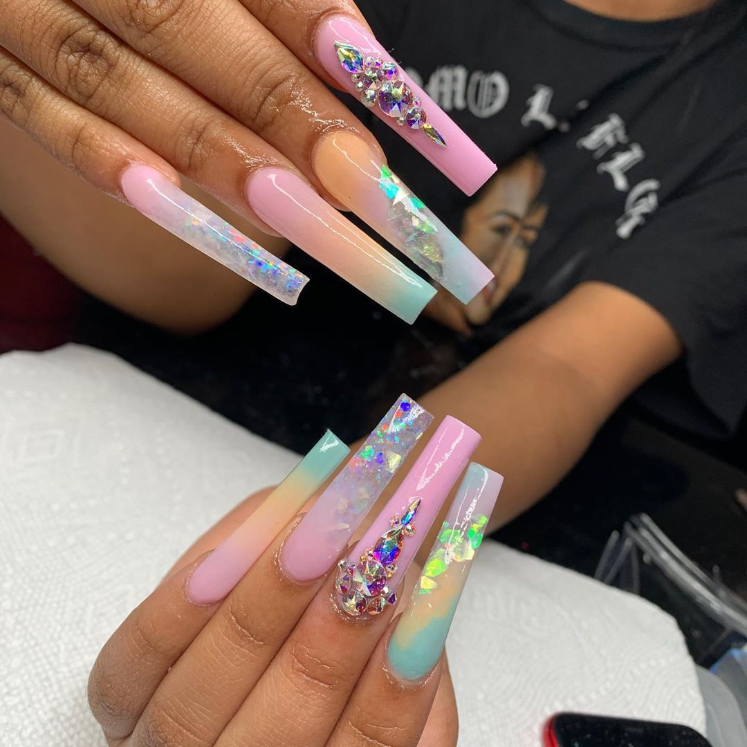 Self Taught On Instagram I Ll Keep Posting My Sisters Nails Cause I Have Nothing Else In 2020 Long Square Acrylic Nails Long Acrylic Nails Tapered Square Nails