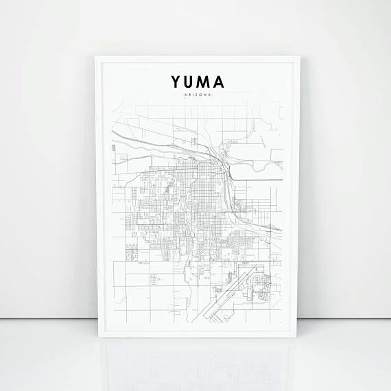 Street Map Of Yuma Arizona.Yuma Map Print Arizona Az Usa Map Art Poster City Street