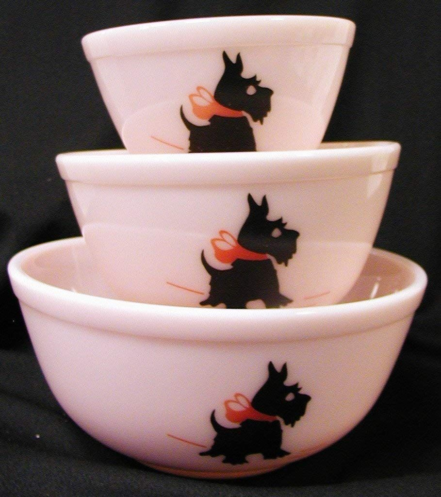 Pink Milk Glass Mixing Nest Bowls W/red Bow