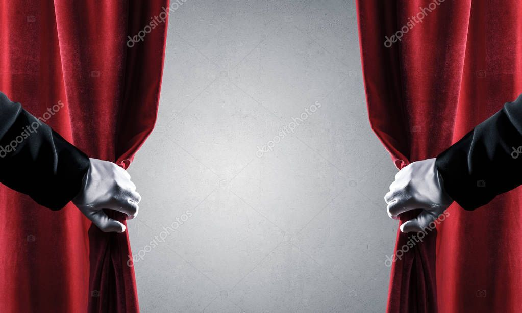 Concrete Wall Behind Drapery Curtain And Hand Opening It Stock