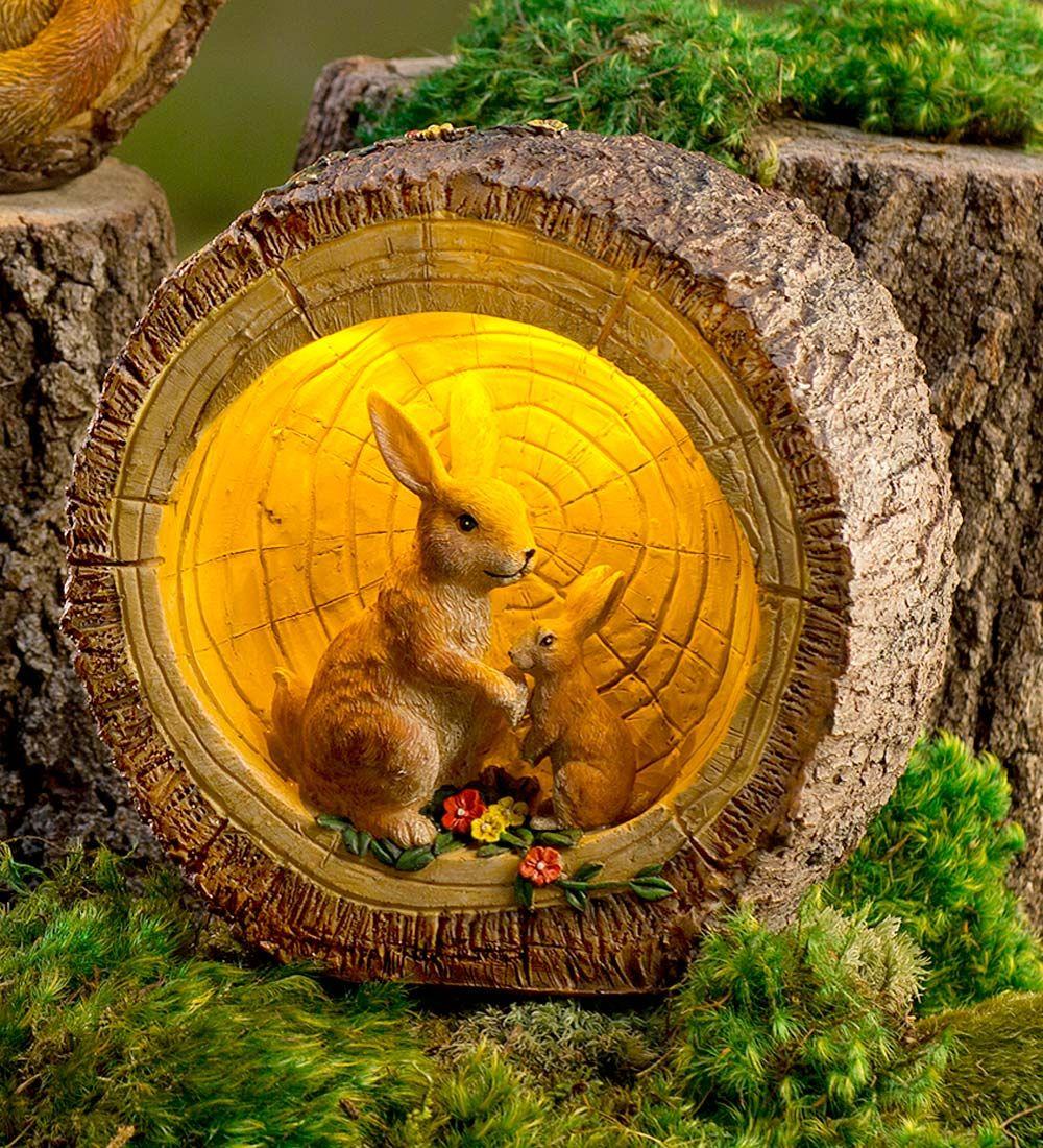 Woodland Rabbits in Lighted Log Sculpture | Decorative Garden ...